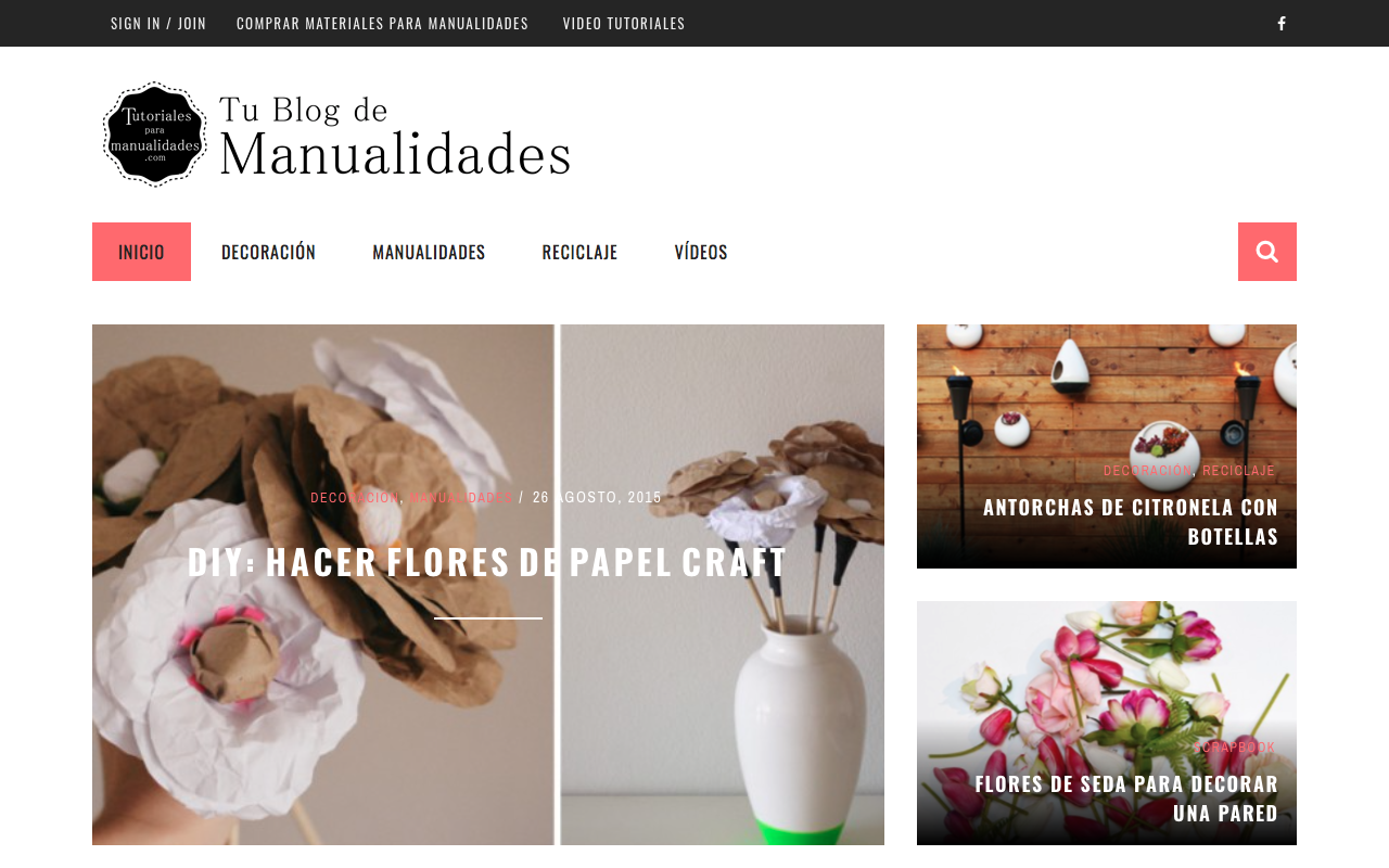 Diseño web del blog Tutoriales para manualidades