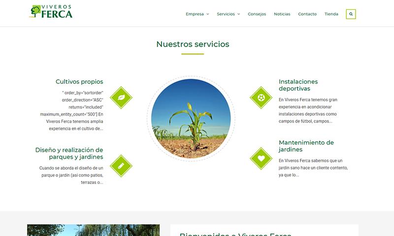 Diseño y desarrollo web para Viveros Ferca