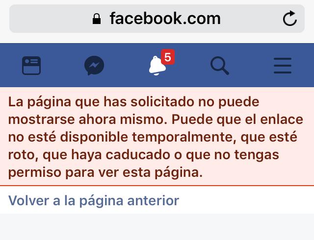 Problemas al acceder a página de Facebook desde el móvil